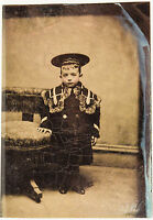 Rare Antique 1/6 Tintype Photo Exquisitely Dressed Young Boy Possibly Royalty?