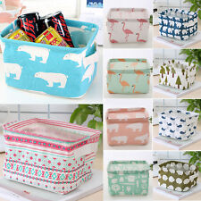 Foldable Desk Storage Box Fabric Cosmetics Sundries Organizer Home Cube Basket