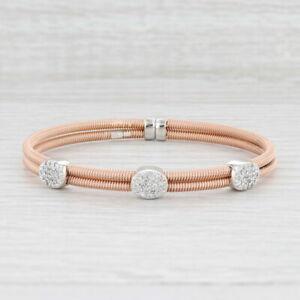 60ctw Diamond Clusters Coil Strand Cuff Bracelet 14k Rose White Gold Adjustable