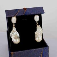 Details about  /13-15mm Multi-Color Baroque Pearl Earring 18k Hook Jewelry Cultured Accessories