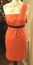 RIVER ISLAND Coral and Black One Shoulder Silk Feel Dress [Size 8]