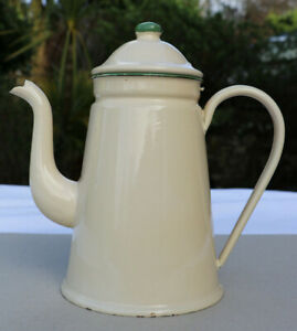 "Vintage Enamel Coffee Pot ""Yarner's Coffee Limited London"" Cream + Green 50s VGC"