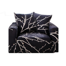 Stretch Fit Sofa Cover Lounge Couch Slipcover Washable 1 2 3 Seater Anti-slip AU Black 3 Seaters ( 185-225cm )