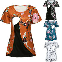 Women Maternity Pregnant Nursing Wrap Floral Short Sleeve Tee T Shirt Top Blouse