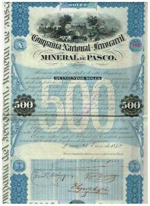 Cia. Nacional del Ferrocaril Mineral de Pasco, Lima 1872, 500 Soles, uncancelled