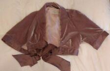 KAREN MILLEN size UK10 EU36 bolero velvet silk sleeved cape jacket - Taupe