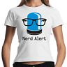 Nerd Alert Geek Gamer Computer Fun Sprüche Comedy Spaß Lady Damen Girlie T-Shirt