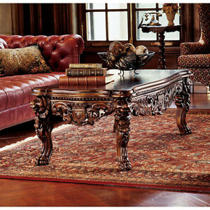 Medieval Antique Replica Solid Mahogany Majestic Lion Head Coffee Table