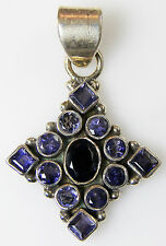 """.925 STERLING SILVER PENDANT with Blue / Purple gemstones 1.75"""" tall 10 g NOS"""