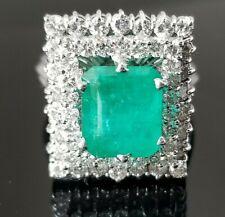 Vintage Rich Green Emerald  Double Halo Diamond 18k white gold ring