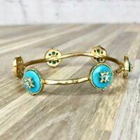 Gold & Blue Round Bangle Bracelet Classy Antique Style
