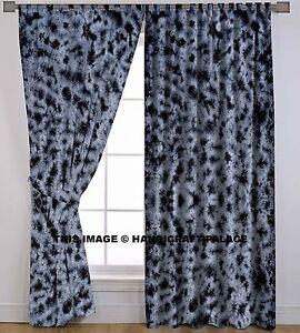 "Indian Handmade Tie Dye Cotton Tab Top Grey Black Curtain Drape Panel 82"" x 84"""