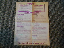 Old Vintage Paper How to Use U.S. Electric Popper & Popular Recipes