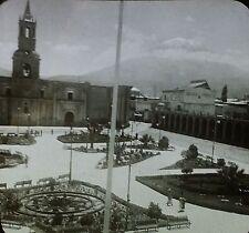 Across the Plaza in Arequipa to Monte Misti, Peru, Glass Magic Lantern Slide