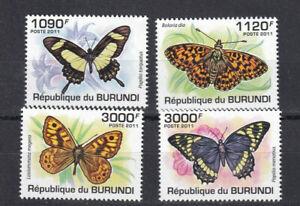 Burundi Butterflies 2011 set of 4 Scott 887-890 MNH Free shipping Cat Val $15.00