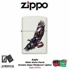 Zippo Eagle Windproof Lighter, Soaring American Flag Soldiers White Matte #29418