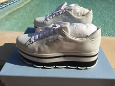 NIB authentic PRADA white LEATHER LOGO PLATFORM LACE-UP CASUAL SNEAKER sz 36