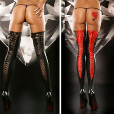 208641b36 Sexy Women Comfortable Thigh-high Stocking Leather Lace Bow Long Socks