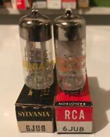 Pair 6JU8 VACUUM TUBES Sylvania RCA New In Box Strong.