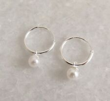 925 Sterling Silver Drop Dangle Pearl White Small Hinged Hoop Sleeper Earrings