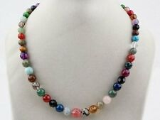 Jelly Bean-inspired Multi-colour 6-14mm Round Beads Gemstone Necklace