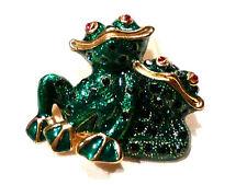 Bijou alliage doré émaillé Broche grenouilles comiques  brooch