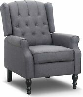 RECLINER CHAIR RECLINING LOUNGE SINGLE SOFA PADDED SEAT FABRIC HOME THEATER GRAY
