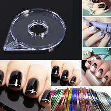 6Pcs/Set Nail Art Design DIY Striping Tape Line Case Tool Sticker Box Holder JS