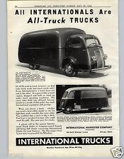 1940 PAPER AD International Truck Cab Over Engine D-300 Allsteel Metro Box Van