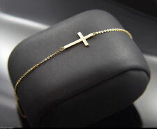 "New 14k Gold Side Cross Bracelet Adjustable Rolo Chain Link 7""-8"" Latin Cruz Oro"