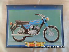CARTE FICHE MOTO KAWASAKI 100 G7T 1974
