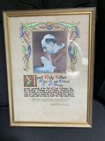 Framed 1958 Calligraphy Handpainted Blessing Most Holy Father Pope siged