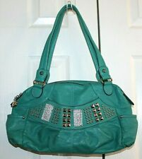 Kathy Van Zeeland Turquoise Faux Leather Silver Studded Satchel