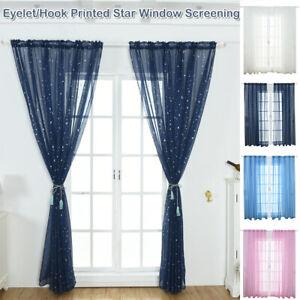 Stars Tulle Voile Window Curtains Drape Sheer Valances Kids Room Door Divider UK