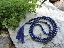 Natural LAPIS LAZULI Meditation Prayer Beads Mala Necklace INDIA