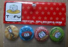 TOFU RECORDS - JPOP- JAPAN - Set of 4 Tofu Records Pinback Buttons - Mint