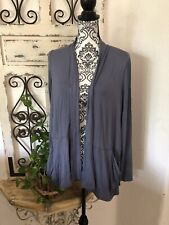 LOGO by Lori Goldstein Open Front Draped Cardigan SZ Medium Dusty Blue
