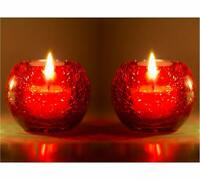 Crackle Red Tealight Candle Holder Set of 2 (Size-9 x 9 cm)- Set of 2 #SJ261