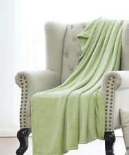Sage Solid Versatile Super Soft Warm Microplush Small Throw Blanket