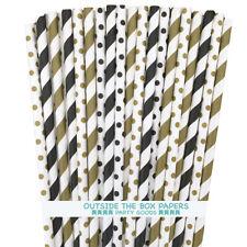 100 Black and Gold Polka Dot, Stripe Paper Straws