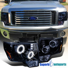 2009-2014 Ford F150 Halo LED Projector Headlights Glossy Black SpecD Tuning