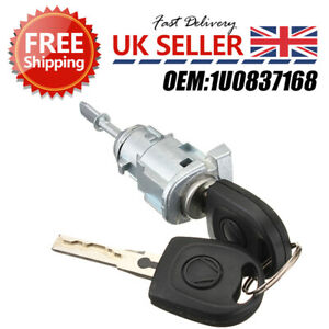 For VW Fabia 1999-2007 Front Right Driver Door Lock Barrel & 2 Keys 1U0837168 ZD