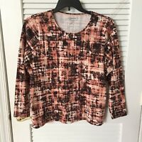 Croft & Barrow Women's Short Sleeve Classic Peach Abstract T-shirt Size 1X