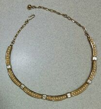 "Vintage Faux Pearl Baguette Rhinestone Goldtone Necklace 16"" 1950's"