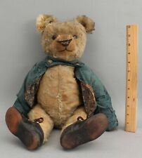 Large 18.5in Tall Antique Early 20thC Jointed Long Mohair Straw Teddy Bear