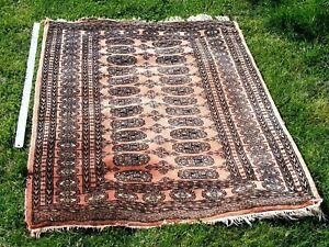 Bokhara rug, vintage, coral / old rose pink, elephant foot, 156 x 91 cm