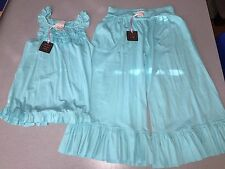 NWT CHASING FIREFLIES LEMON LOVES LIME BLUE RUFFLE TOP & GAUCHO PANTS SIZE 10