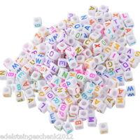 "500 Neu Weiß Acryl Buchstaben""A-Z"" Würfel Perlen Spacer Beads 6x6mm"