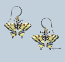 Bamboo Jewelry Swallowtail BUTTERFLY Cloisonne EARRINGS STERLING Silver - Boxed