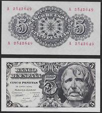 """5 Pesetas 1947 """"Séneca"""". Serie A. nº 2542649. SIN CIRCULAR PLANCHA. ESCASO."""